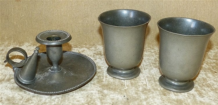 A Pewter Chamber Candlestick with snuffer, also 2 Pewter round tr