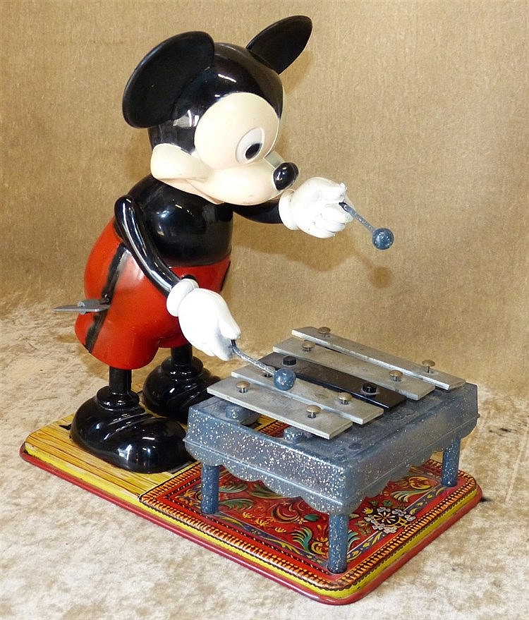 A Tin and Plastic Key Wind Model of Mickey Mouse, 29cm high