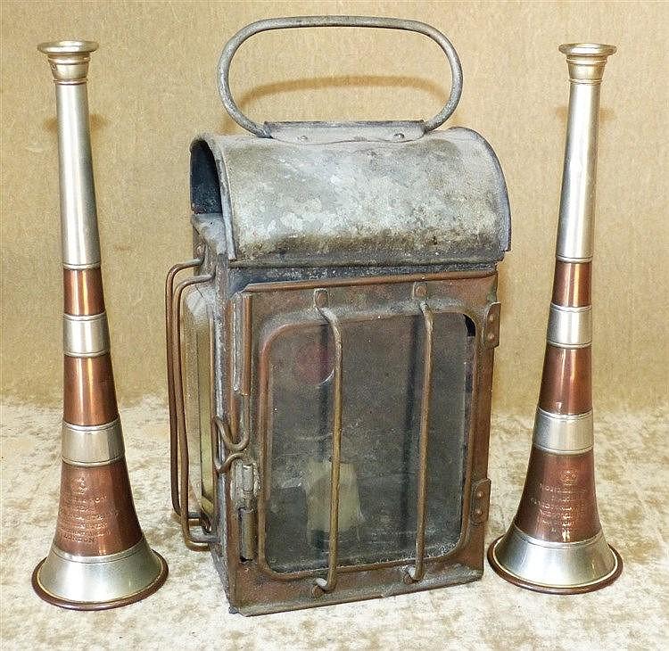 Kohler & Son, London 2 Copper and Metal Bugles, also a lantern (3