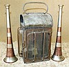 Kohler & Son, London 2 Copper and Metal Bugles, also a lantern (3