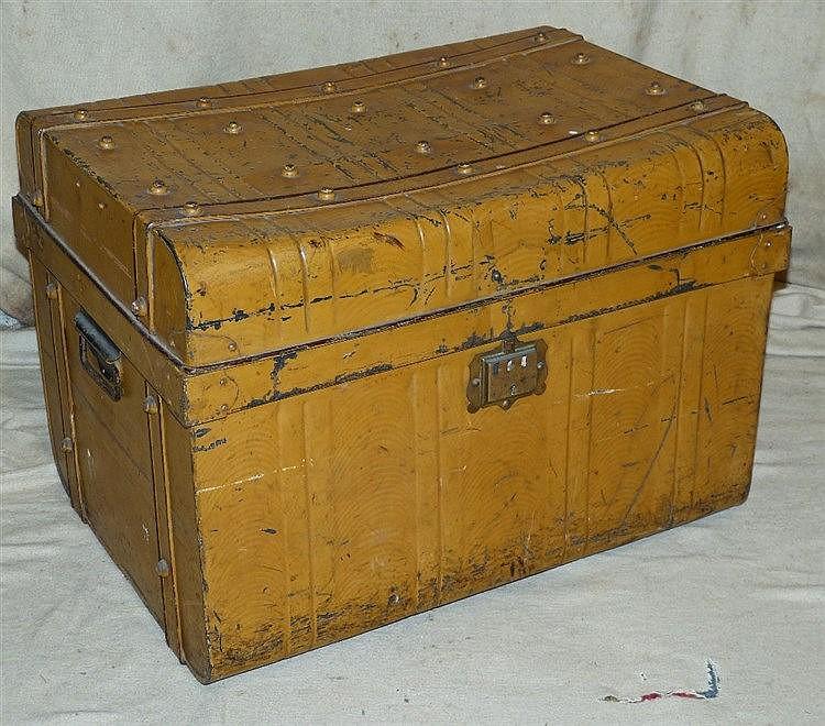A Tin Rectangular Trunk, 71cm wide