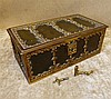 A Gilt Metal and Leather Jewellery Casket having raised floral an
