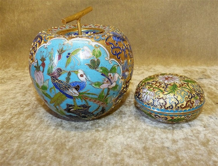 A Cloisonné Bulbous Shape Pot in form of an apple with cover  hav