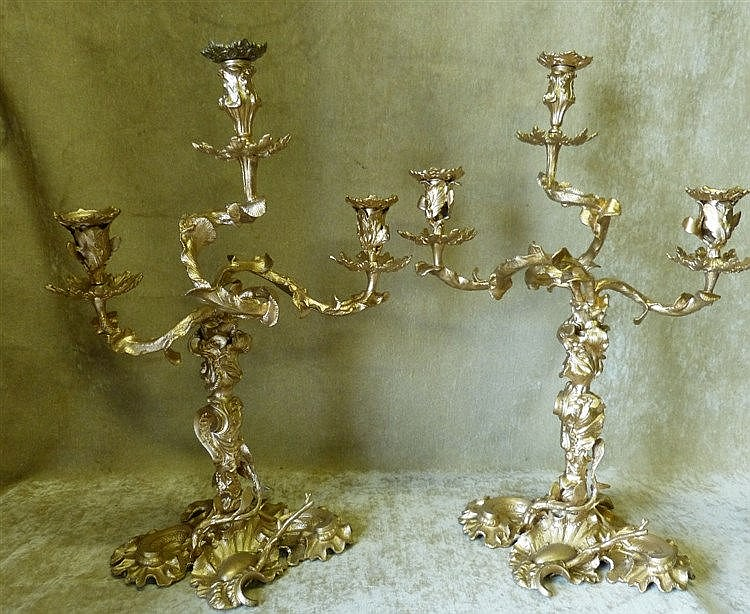 A Pair of Later Gilt Painted 19th 3-Light 3-Branch Candelabra's h