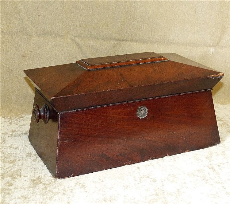 A 19th Century Mahogany Sarcophagus Shaped Tea Caddy having hinge