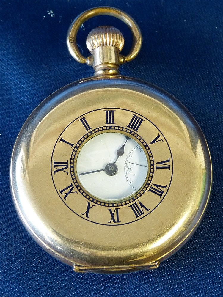 A Buren Gold Plated Half Hunter Pocket Watch having white enamel