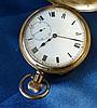 A Buren Gold Plated Half Hunter Pocket Watch having white enamel