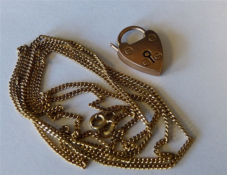 A 9ct Gold Thin Chain, also a 9ct gold padlock clasp 6.2gms