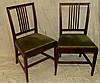 A Set of 4 Mahogany Single Chairs having stick backs, green velve