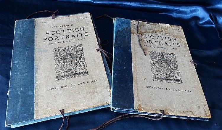 2 x Portfolios Scottish Portraits, Edited by James L Caw, circa 1