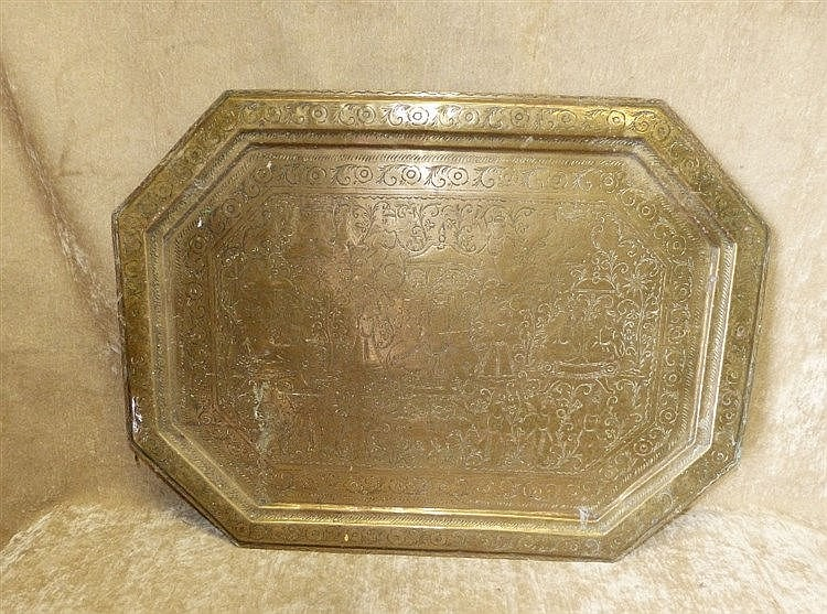 An Eastern Brass Rectangular Shaped Tray having chamfer corners w