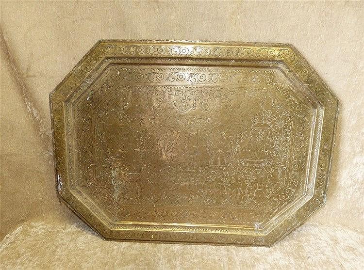 An Eastern Brass Rectangular Shaped Tray having chamfer corners w