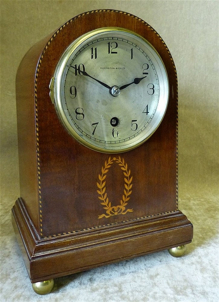 Elkington & Co Ltd Edwardian Mahogany Arched Top Timepiece having