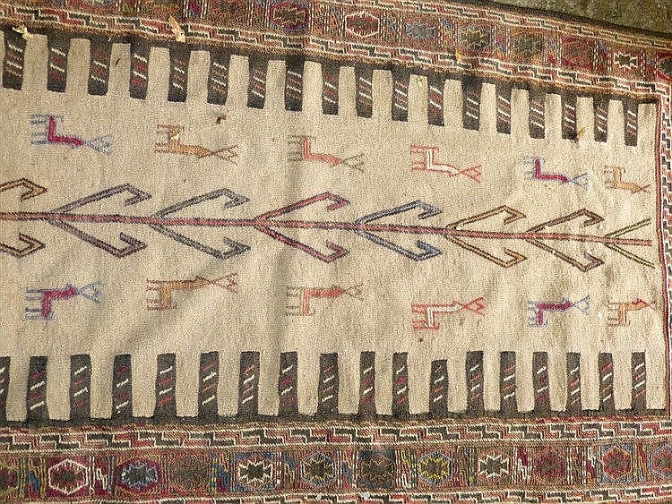 A Kilim Style Rug having centre animal motifs, 1m 91cm x 98cm