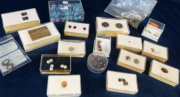 A Quantity of Various Cased Gemstones including pearls, cameos et