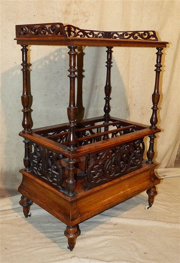A Victorian Burr Walnut Canterbury Whatnot having pierced frieze,