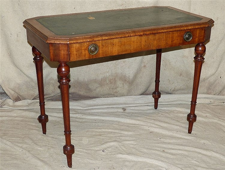 A 19th Century Mahogany Side Table having green leather inset top