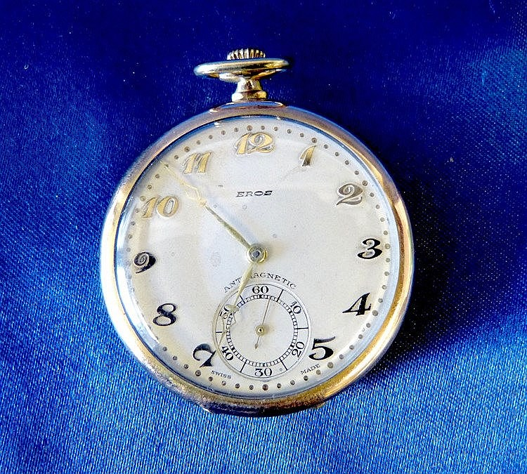 An Eros Gold Plated Open Faced Dress Pocket Watch with seconds di