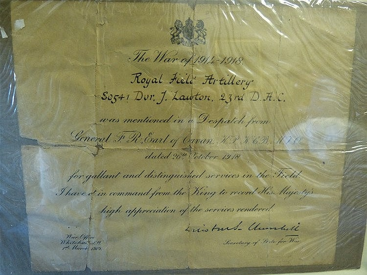 William Churchill Signed WWI Dispatch Letter, framed, 18.5cm x 22