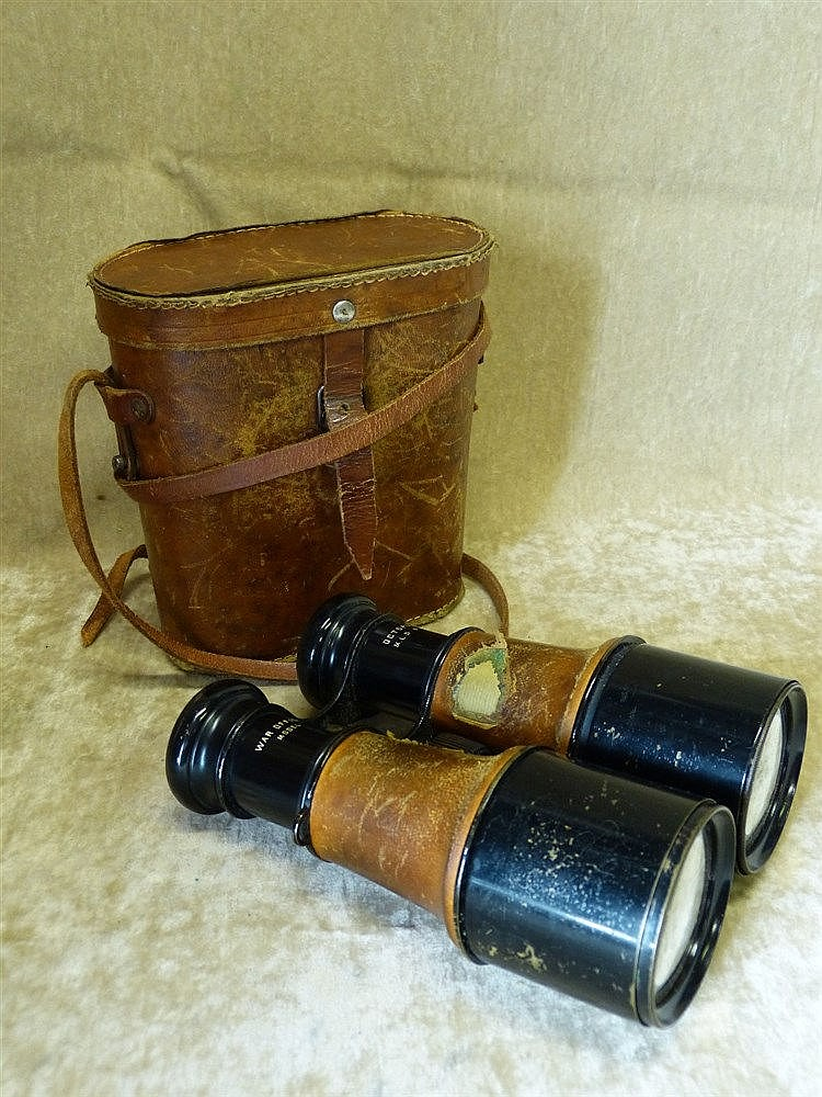 A Pair of Octopus War Office Model Binoculars with leather carryi