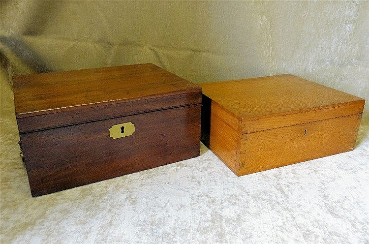 A 19th Century Mahogany Rectangular  Writing Box with carrying ha