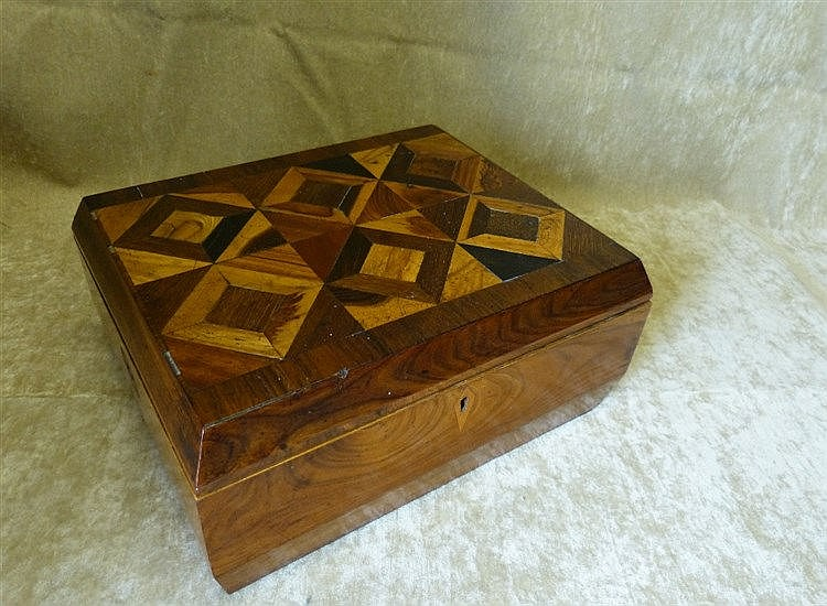 A 19th Century Walnut and Marquetry Rectangular Box having parque