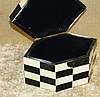 A Reproduction Black and White Parquetry Hexagonal Tea Caddy havi