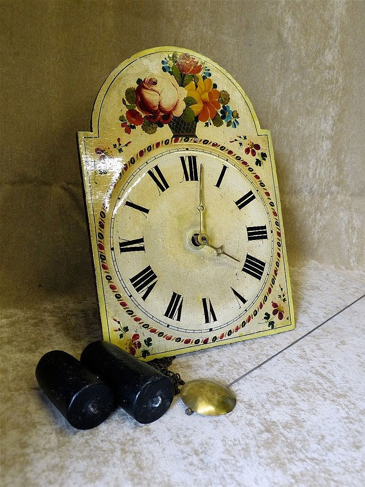 An Arched Wooden Painted Hanging Wall Clock with floral and leaf