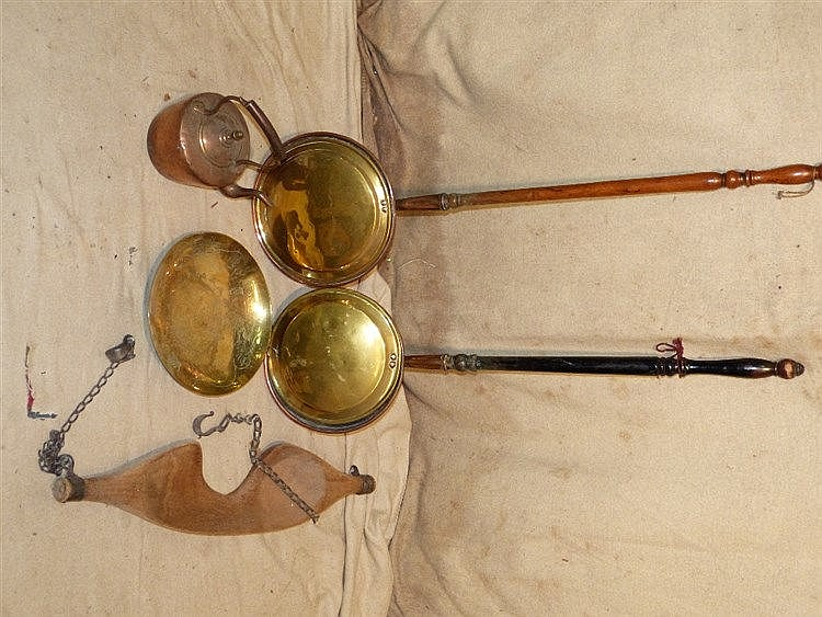 2 Copper and Brass Warming Pans having turned wooden handles, a c