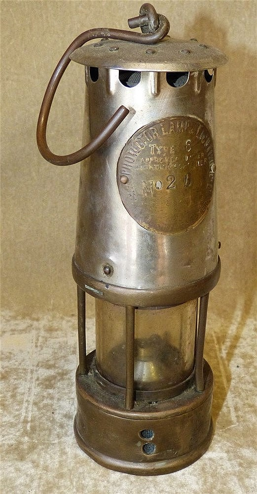 A Brass Miners Lamp, 25cm high