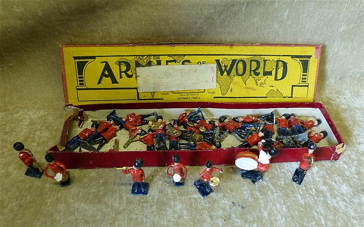 A Quantity of Britians Lead Military Band Figures, with odd box