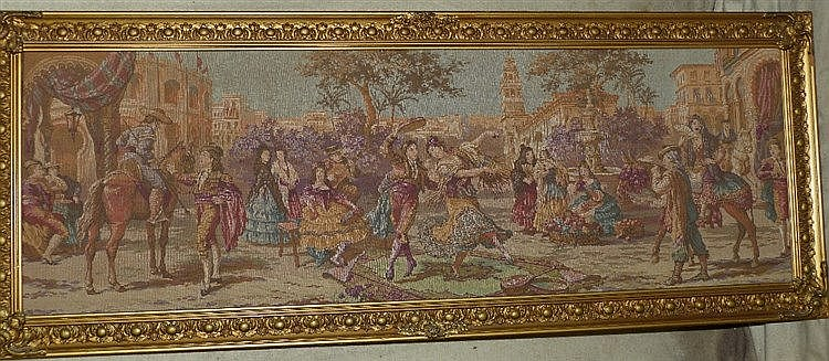 A Machine Made Tapestry depicting continental figures dancing in