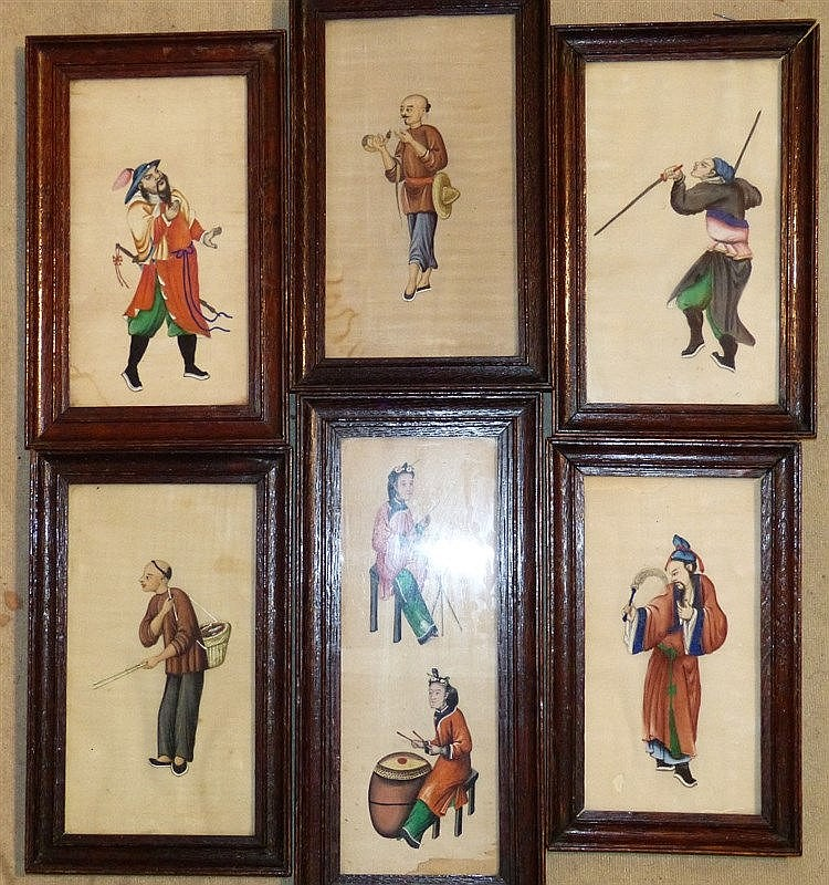 6 Oriental Rice Pictures depicting various figures in oak frames,
