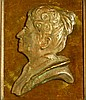 A Bronze Relief Bust of a Lady, frame 28cm x 23.5cm overall