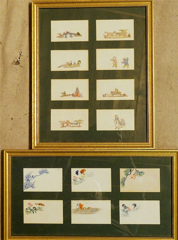 A Set of 14 Hand Painted Business Cards depicting Oriental figure