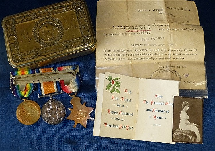 WWI Bar 3 Medals, 1914/18 Medal, War Medal 1914 Star with bar (5t