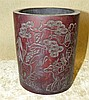 A Bamboo Brush Pot having carved figure, animal and inscription d