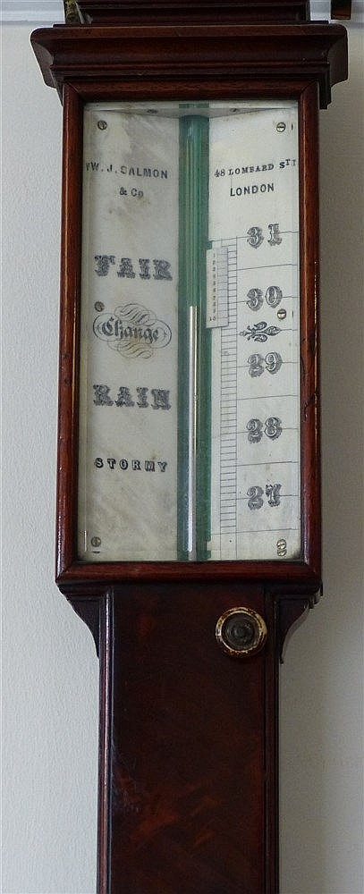 W J Calmon & Co London 19th Century Mahogany Stick Barometer and