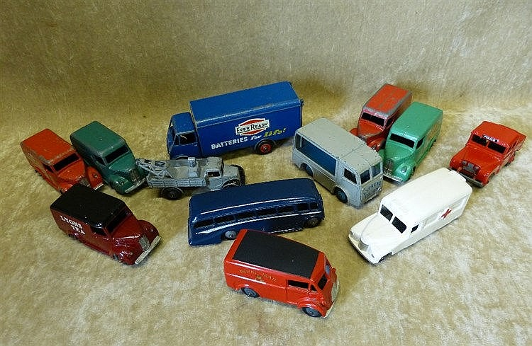 12 Diecast 1950's Dinky Commercial Vehicles