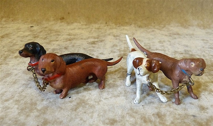 A Group of 2 Cold Painted Metal Figures of Dachshunds also anothe