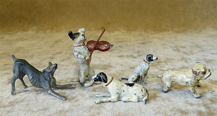 A Cold Painted Metal Figure of a Dog playing a Violin and 4 other