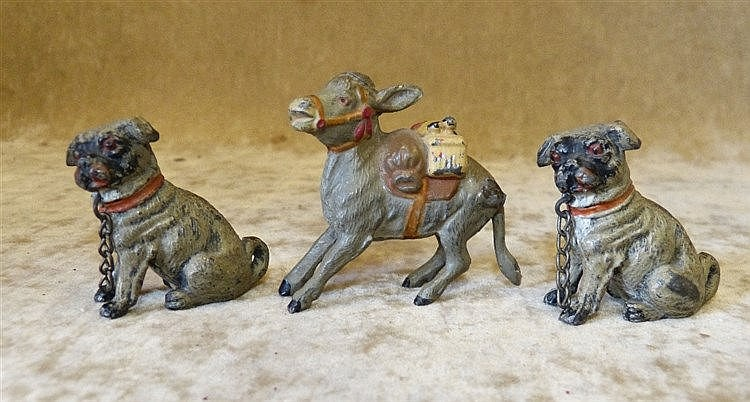 A Pair of Painted Metal Figures of Seated Dogs, 4cm high also a s