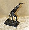 A Spelter Figure of an Athlete on black onyx base, 25cm high