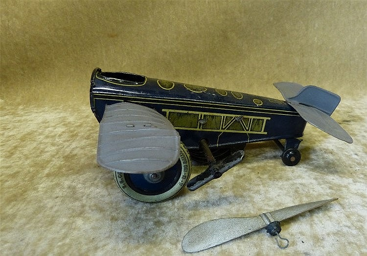 SG German Tin Clockwork Aeroplane, 17cm long