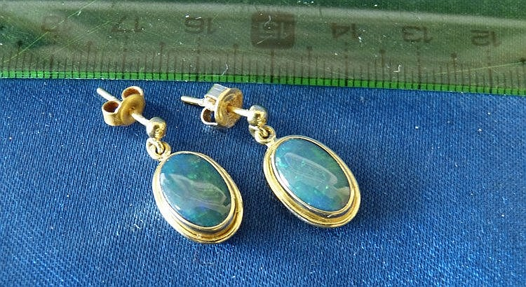 A Pair of 18ct Gold Drop Opal Earrings