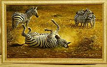 "Michael Kitchen-Hurle Oil on Canvas depicting Zebra ""Dust Bath"" s"
