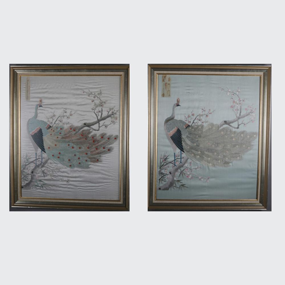 Pair Antique Japanese Silk Embroidery Panels Of Peacocks C1