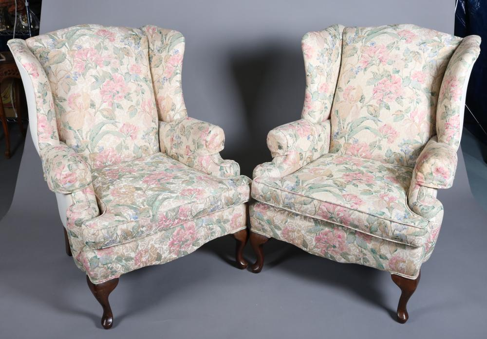 Pr Queen Anne Style Floral Upholstered Wingback Chairs
