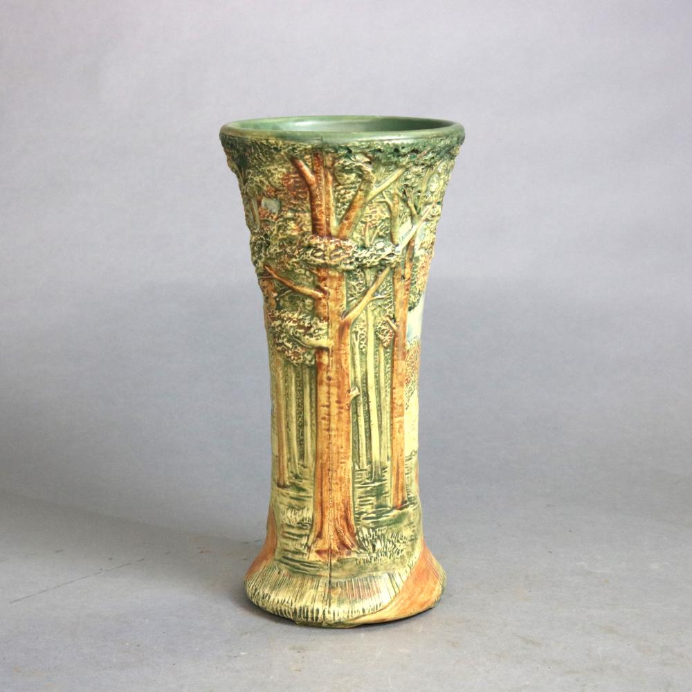 Antique Weller Art Pottery In-Relief Forest Vase, c1930