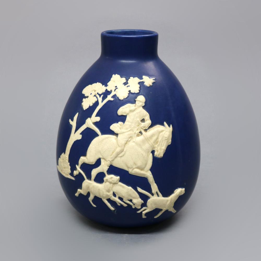 Antique Lg Weller Art Pottery Jasperware Fox Hunt Vase